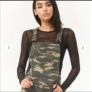 Forever 21 Camo Slim Fit Overalls.